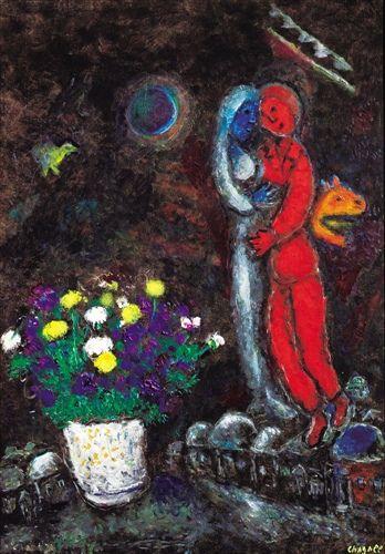马克·夏卡尔的《冬夜恋人》