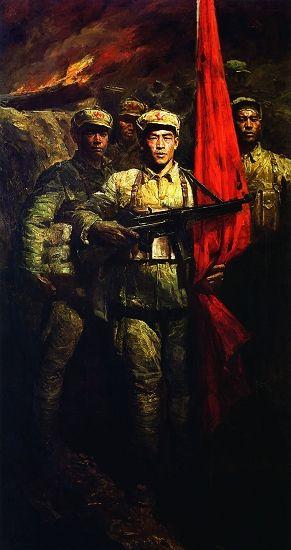 陈逸飞《红旗之一》,一九七一年作,油彩画布。