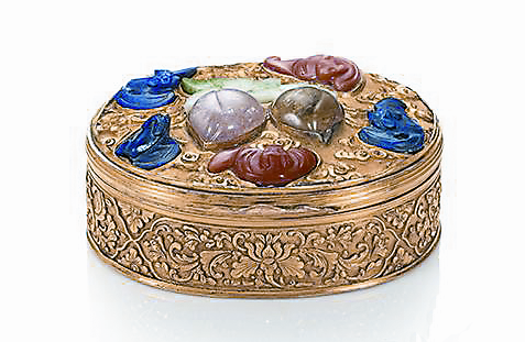 19世紀 吉祥果蝠紋帶蓋煙盒