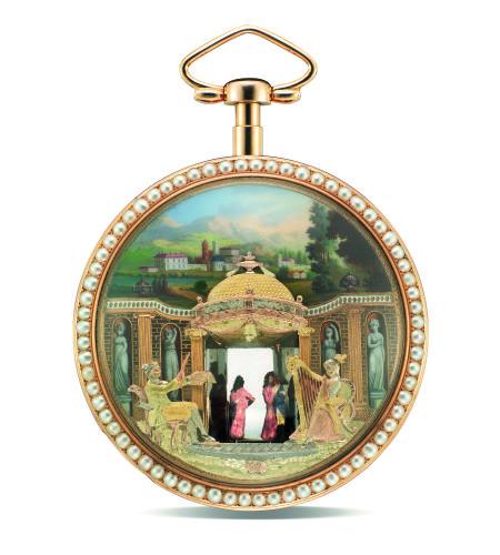 18K金及珐琅,镶珍珠音乐怀表,成交价为412万港元