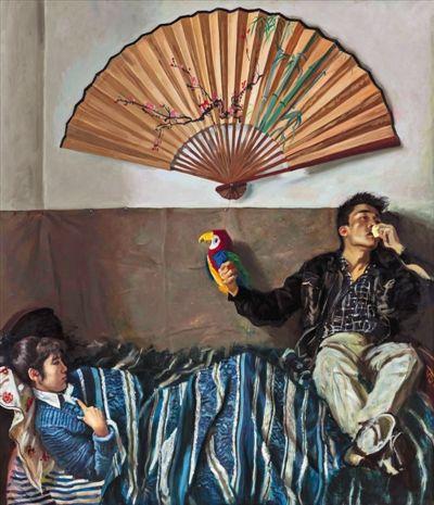 赵半狄《鹦鹉和扇子》 第一次拍卖:2005年 成交价:96.8万元 第二次拍卖:2014年 成交价:1035万元