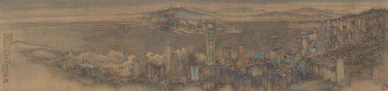 《集粹补遗图卷》(局部),2014年作,水墨绢本,画心 43.5 x 166公分