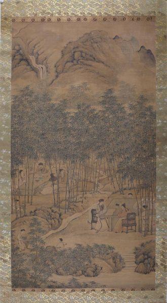 华�弧吨裣�六逸图》,立轴 设色绢本,183×100cm,约16.5平尺