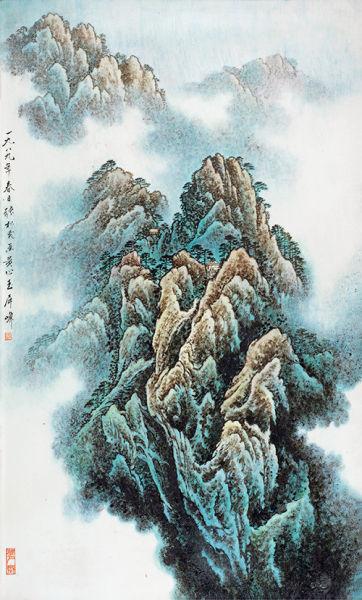 张松茂 粉彩「黄山玉屏峰」瓷板 75.0×44.5cm