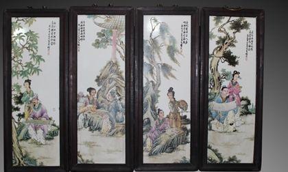 王大凡瓷板畫仕女圖