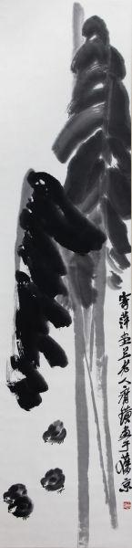齐白石 芭蕉群鸡 133×32.5cm