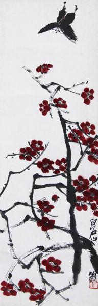 齐白石 红梅蝴蝶 85×27cm