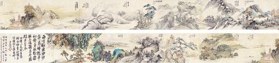 潘天寿王震等十二家合作《万佛楼图卷》