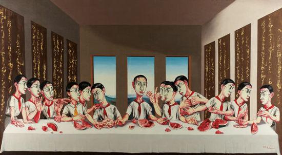 """曾梵志(1964年生)《最后的晚餐》,2001年作,油彩画布,220""""""""x395""""""""。资料图"""
