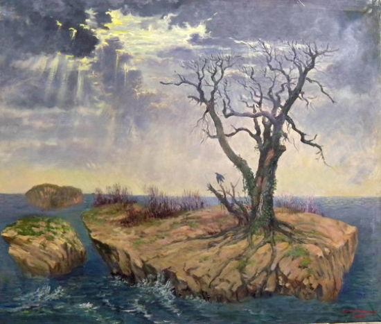 《寒冬》86X100CM 1997-2011年 油画 林鸣岗