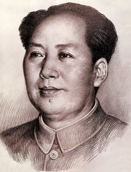 1997年4月2日刘文西完成为人民币画的毛泽东头像