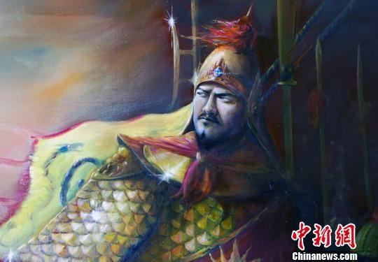 2月16日,台湾画家杨炳辉笔下英武的郑成功画像。 陈立宇 摄