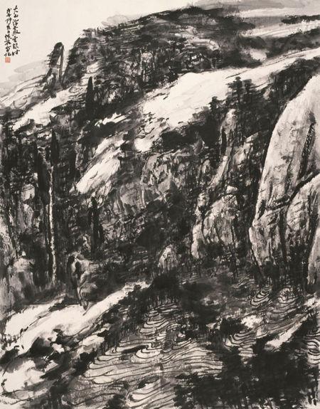 大山深处 145×114cm 纸本墨笔 2008年