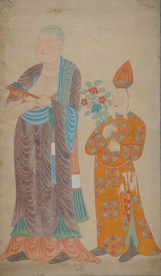 张大千临摹的敦煌壁画西夏高僧与回鹘人供养像