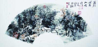 湖山清兴之七(国画) 28×60厘米      2014年  买鸿钧