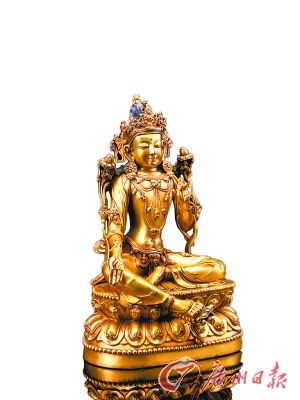 明永乐 铜鎏金绿度母坐像