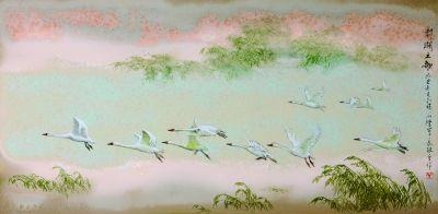 陳軍、傅長敏合作作品:高溫色釉綜合裝飾瓷板《鄱湖之歌》