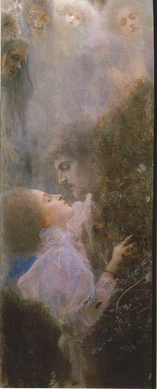 在这对情侣的上方,漂浮着悲剧命运的面孔(《爱情》,1895)