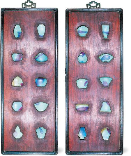 紅木鑲嵌鈞窯瓷片掛屏,價格在10萬元左右。