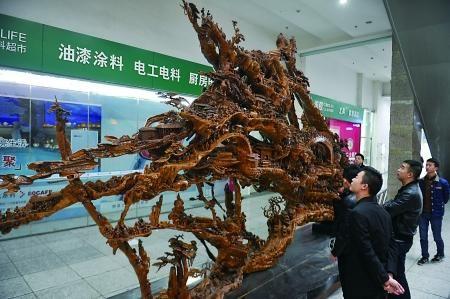 江北區,市民在觀看根雕。  記者 張路橋 攝