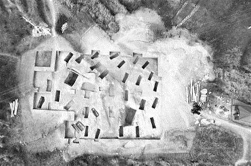 大冶銅綠山四方塘遺址墓葬發掘區航拍圖。 (湖北省文物考古所供圖)