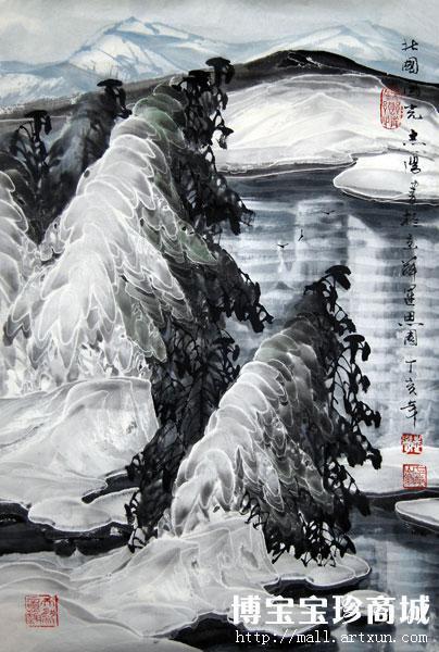 """博宝艺术网的业内人士称,他的冰雪山水为""""白银世界三斗墨""""."""