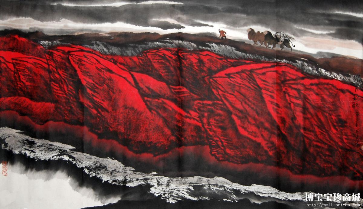 周尊圣红色染天山展现新疆别样艺术风景