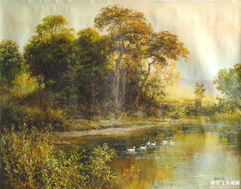 风景油画大都坚持着写实的风格,一幅优美的朝鲜油画可以把我们带回到