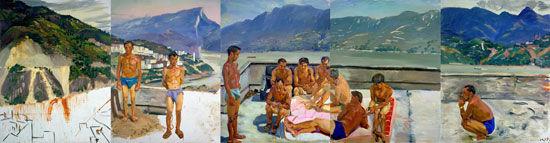 刘小东《温床》布面油画 260×1000厘米 2000-2006年
