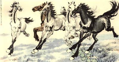 徐悲鸿,《群奔》,1942,徐悲鸿纪念馆