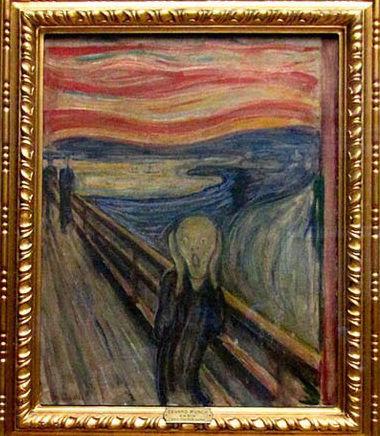 第一版《呐喊》,也是流传最广的一版,作于1893年,蛋彩、蜡笔绘于木板,尺寸91*73.5cm,现藏于挪威国家博物馆。