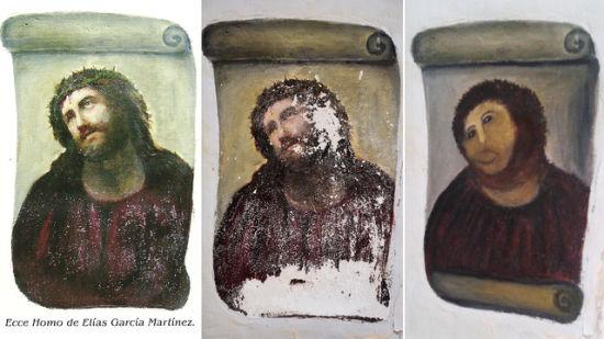 图片的最左边是壁画两年前的样子,中间是它今年7月份时的样子,右边的则是8月6日,被八旬老人修复后的样子