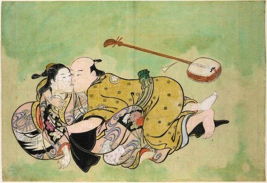 西川�v信作品《男子与艺伎调情》