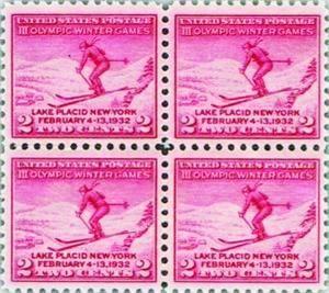 首枚冬奥会邮票四连方