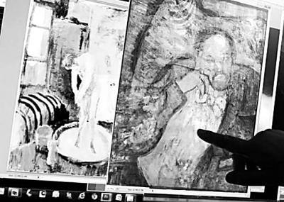 畢加索《藍色房間》中的隱藏畫(一名蓄著鬍子的男子)。