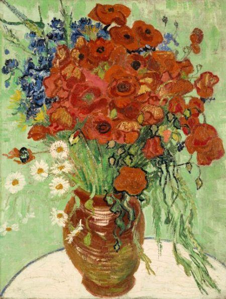 梵高《静物,插满雏菊和罂粟花的花瓶》(1890)