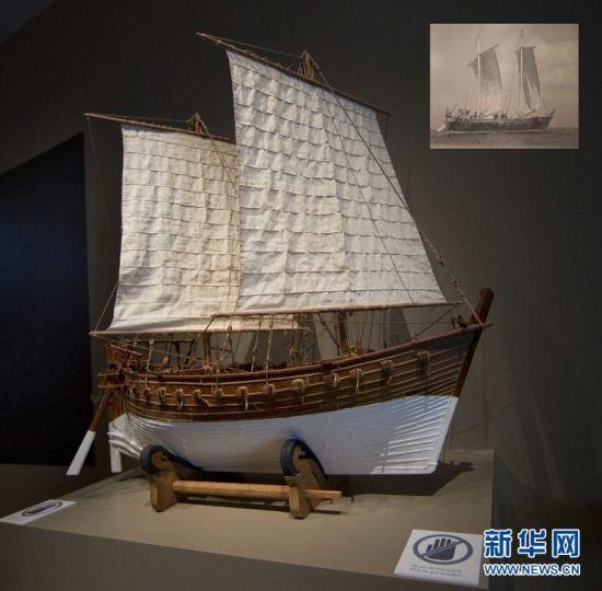 """展出的""""黑石號""""復原船模及其複原畫(右上)。新華網 鄒崢攝"""