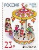 俄羅斯套娃和德姆科沃(Dymkovo)彩繪陶製玩具郵票