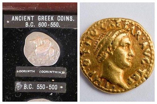 希臘銀幣(左)與印有凱撒頭像的羅馬金幣(右)。