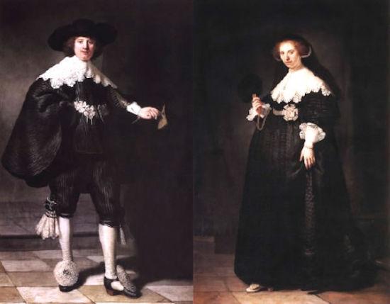 伦勃朗杰作《Maerten Soolmans》(左)&《Oopjen Coppit》(右)
