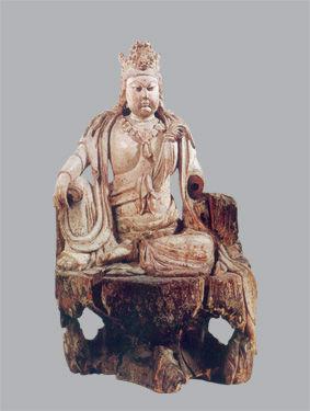 明洪武十八年木雕水月觀音菩薩像高77.5厘米美國大都會博物館藏