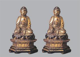 明洪武二十九年銅鍍金釋迦牟尼佛像兩尊高5.7厘米首都博物館藏