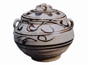 宋代磁州窑白釉黑花盖罐