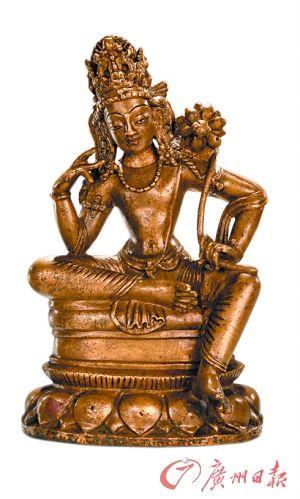蓮花手觀音斯瓦特(8~9世紀) 高15厘米黃銅合金,嵌銀嵌紅銅,單體澆鑄