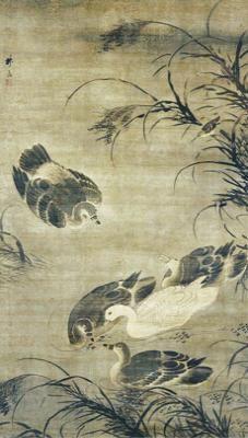 鹅泳图 林良作绢本设色,纵172.4厘米,横98.9厘米,现藏于美国弗利尔美术馆