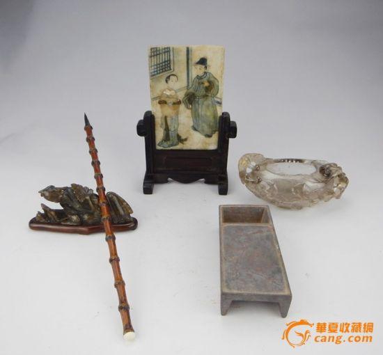 清--雲石彩繪人物硯屏。藏家:華夏收藏網 三石草堂