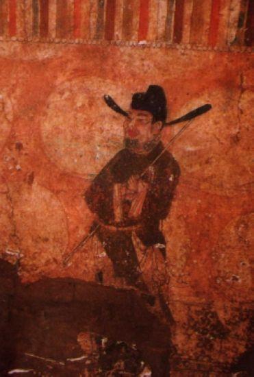 彬县五代冯晖墓甬道东壁壁画