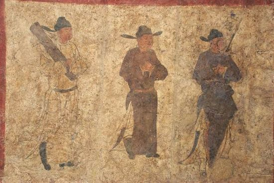 孟津新庄五代墓甬道东壁壁画