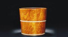 清官窯仿黃花梨木釉桶