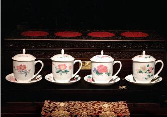 紅官窯2008版再造毛瓷之四季花卉杯碟毛澤東同志誕辰115週年紀念瓷